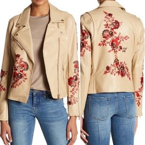 Blank NYC Wildflower Faux Leather Moro Jacket
